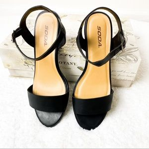 Soda Black Open Toe Strappy Sandals